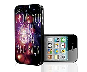 I Love You to the Moon and Back Galaxy Nebula Hard Snap on Phone Case (iPhone 4/4s)