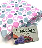 The Flax Sak® Unscented, Large Microwave Heating Pad, Hot/Cold Pack With Washable Cover. Grey and Pink Hearts