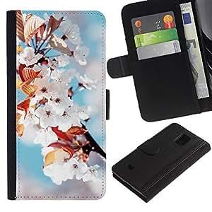 Stuss Case / Funda Carcasa PU de Cuero - Flores blancas - Samsung Galaxy S5 Mini, SM-G800