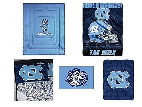 NCAA North Carolina Tar Heels Locker Room 8pc Ensemble: Includes full/queen comforter, full flat sheet, full fitted sheet, 2 pillowcases, rug, throw, and blanket ()