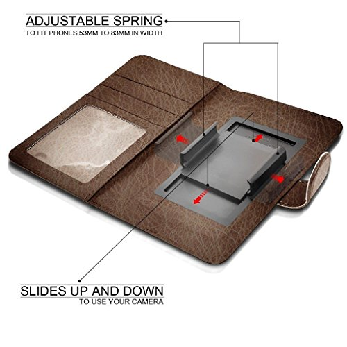 Universal Grand PU Case Wallet 5 Camera Brown Case Green Slide and Leather with 5 Clamp Slot Banknotes Premium Spring Card Pocket Wallet Clamp BLU Holder Aventus HD CxwvqE8YY