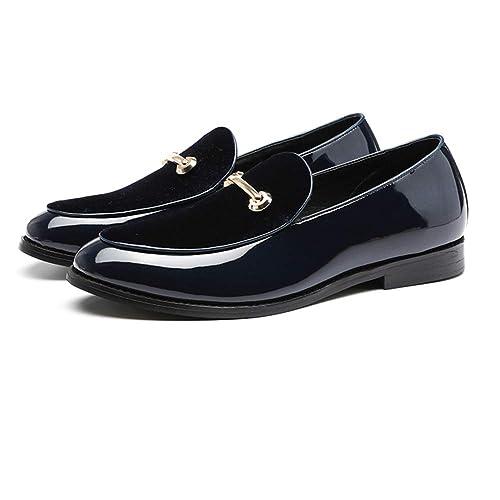 NXY De los Hombres Línea de Gamuza y Charol Ponerse Mocasines Zapatos de Vestir de Boda Calzado de conducción Casual Elegante: Amazon.es: Zapatos y ...