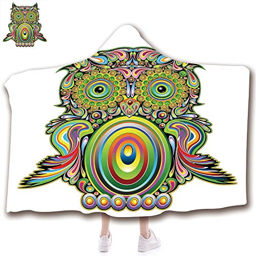 scocici Fashion Blanket Ancient China Decorations Blanket Wearable Hooded Blanket,Unisex Swaddle Blankets for Babies Newborn by,Owl with Ethnic Elements Legend Eye Feather,Adult Style Children Style