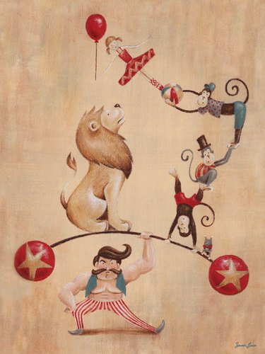 Oopsy daisy, Fine Art for Kids Vintage Circus Strong Man Stretched Canvas Art by Sarah Lowe, 18 by 24-Inch