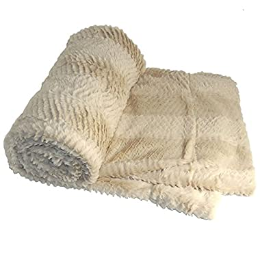 BOON Herringbone Brushed Throw with Faux Fur Sherpa Backing, 50  x 60 , Beige