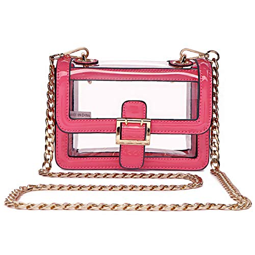 Clear Boxy Shoulder Bag Chain Strap Crossbody Purse - NFL Stadium/Concert Venues Approved ()