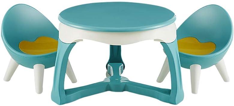 XGGYO Tabla Niños Y Juego de Sillas, Hogar Kinder Plástico Niños Graffiti Plaza de Juegos Mesa de Estudio para Los Niños 2-12 Años/Green / 1 mesa 2 sillas: Amazon.es: Bricolaje y herramientas