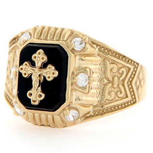10k Yellow Gold Crucifix Onyx CZ Religious Mens Ring