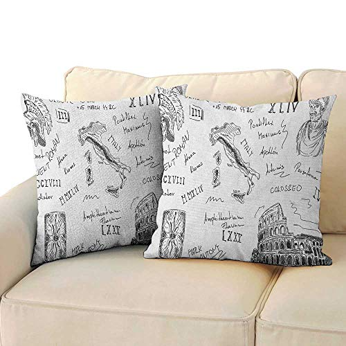 Caesars Body Wash - Toga Party,Kids Toddler Pillow Ancient Roman Period Icons Caesar Colosseum Gladiator and Map Sketch Art 14