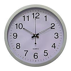 YUSOUND Non-ticking Quartz Home/Office Digital Decorative Plastic Wall Clock, 14 Inch(Silver-gray)