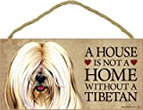 (SJT63971) A house is not a home without a Tibetan (Terrier, white color) wood sign plaque 5