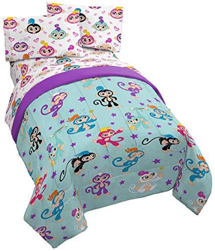 Jay Franco Fingerlings Monkey Around 4 Piece Twin Bed Set - Includes Reversible Comforter & Sheet Set - Super Soft Fade Resistant Polyester - (Official Fingerlings Product) ()