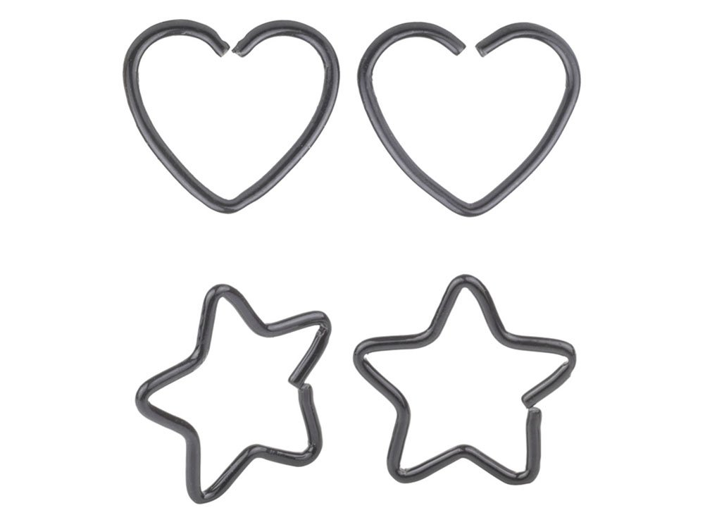 4 Pcs Mix Surgical Steel Heart& Star Shaped Lip Ear Nose Hoop Ring Earrings Clip Non Piercing Jewelry &7 A+ CM