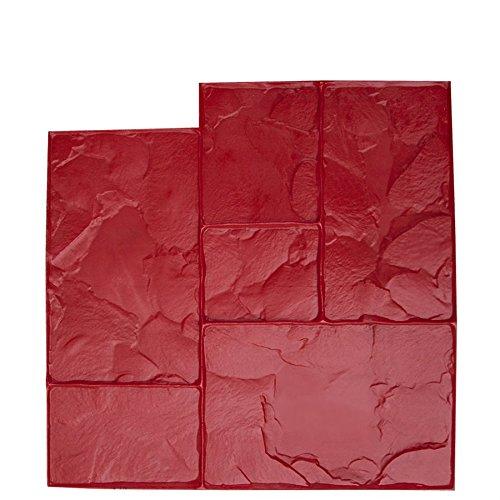 BonWay 12-595 24-Inch by 24-Inch Ashlar Cut Stone Urethane Texture Mat, Red ()