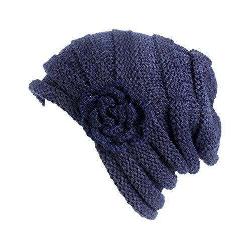 URIBAKE Women's Winter Wool Knitting Hat Turban Brim Hat Cap Pile Cap Floral Crochet ()