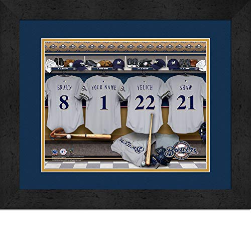 Milwaukee Brewers Personalized MLB Baseball Locker Room Jersey Framed Print 14x18 Inches (14 Milwaukee Brewers Jersey)