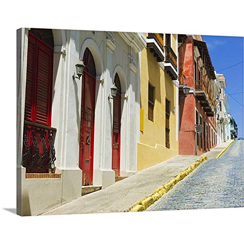 Puerto Rico, Old San Juan, Row of Historic Houses in Old Town Canvas Wall Art Print, 24