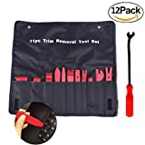 MINLUK Auto Trim Removal Tool, 12PCS Strong Nylon Upholstery Fastener Clip Remover Pry Installer Tool Set for Car Vehicle Audio Video Dashboard Door Panel Window Molding - No Scratches