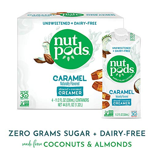 nutpods Caramel 4-pack, Unsweetened Dairy-free Coffee Creamer, Whole 30 Approved and Great Keto Coffee Creamer, Vegan Coffee Creamer and Paleo Coffee Creamer and Sugar Free Coffee Creamer (The Best Vegan Coffee Creamer)