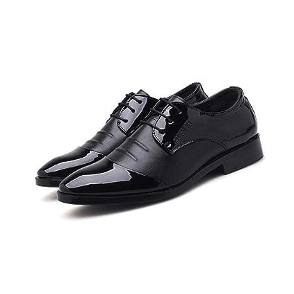 ZIXUAP Calzado en Punta para Hombre, Elegantes y cómodos Mocasines Negros con Zapatos de Vestir