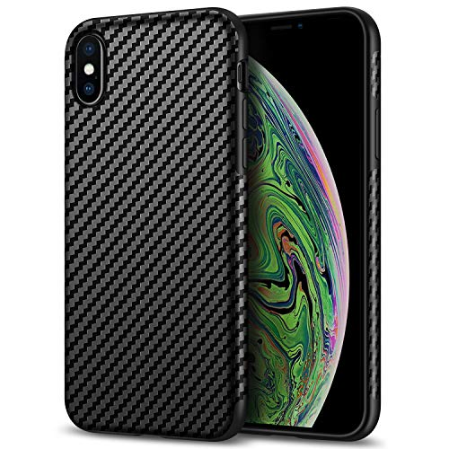 Tasikar Compatible with iPhone X Case/iPhone Xs Case Good Grip Slim Carbon Fiber Leather Case for iPhone Xs (2018) / iPhone X (2017) - Black