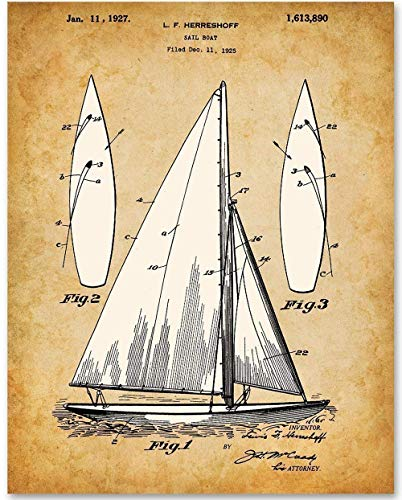 (Sail Boat - 11x14 Unframed Patent Print - Makes a Great Gift Under $15 for Sailing Enthusiasts and Beach House or Lake House Decor)