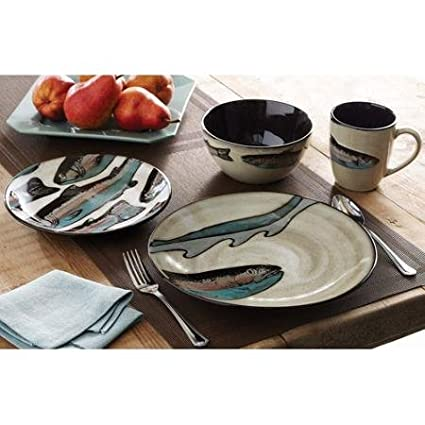 Better Homes and Gardens Trout Lodge 16-Piece Dinnerware Set  sc 1 st  Amazon.com & Amazon.com | Better Homes and Gardens Trout Lodge 16-Piece ...