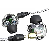 In-ear Headphones VJJB Dual Dynamic Coils Replacable Cables Built-in MIC Stereo Noise Reduction Earphones HIFI Deep Bass Headsets Sweatproof Waterproof Earbuds for All Music Player-Clear