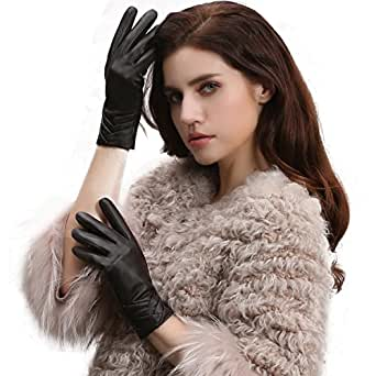 GSG Womens NON Touchscreen Gloves Spain Genuine Leather Winter Driving Texting Trendy Ruched Warm Faux Fur Dk Brown 7.5