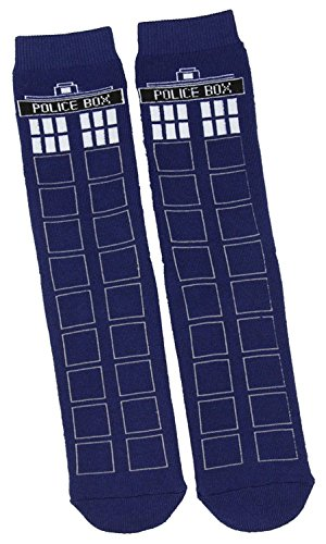 Doctor Who TARDIS Full Cushion Slipper Socks with Treads]()