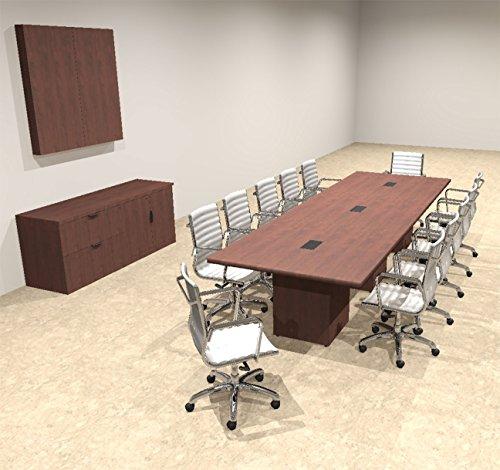 Modern Rectangular Top Cube Leg 12' Feet Conference Table, OF-CON-CS13