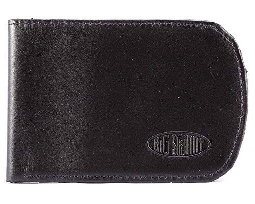 Big Skinny Men's Curve Leather Bi-Fold Slim Wallet, Holds Up to 20 Cards, Black