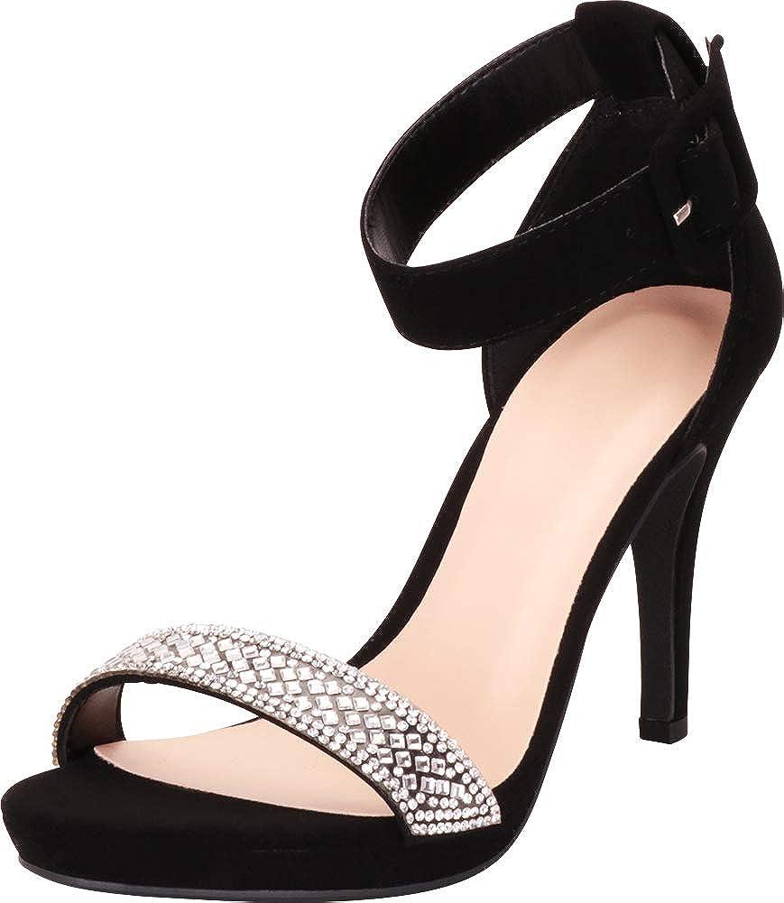 Black Nbpu Cambridge Select Women's Open Toe Crystal Rhinestone Ankle Strap Stiletto High Heel Dress Sandal