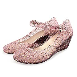 Purple Jelly Wedge Crystal Sandal With High Heel