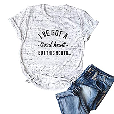 T Shirts for Women Plus Size,Casual Summer Loose Letter Print Graphic Short Sleeve Round Neck Tees T-Shirts Tops: Clothing