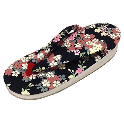 Edoten Giappone Spugna Zouri Sandali Casual In Tessuto Di Cotone Nero