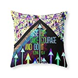 Society6 RISE UP TAKE COURAGE AND DO IT Colorful Geometric Floral Abstract Painting Christian Bible Scripture Throw Pillow Indoor Cover (18'' x 18'') with pillow insert