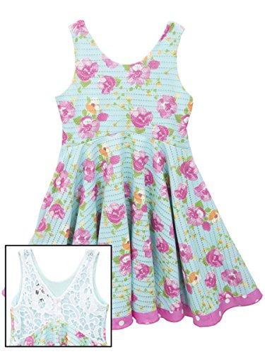 Rare Editions Little Girls Blue Floral Crochet Dress 6