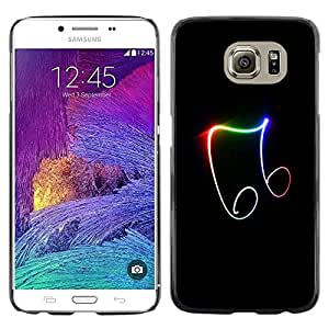 FECELL CITY // Duro Aluminio Pegatina PC Caso decorativo Funda Carcasa de Protección para Samsung Galaxy S6 SM-G920 // Note Neon Bright Colors Black Music