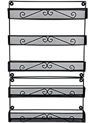 ESYLIFE 2 Tier and 3 Tier Wall Mounted Kitchen Spice Rack Organizer 5 Tier Pantry Door Shelf, Black