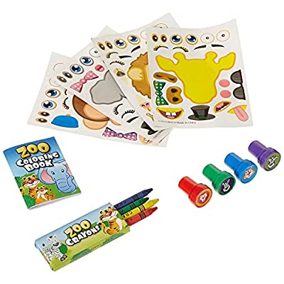 Fun Land 12 Animal Coloring Books and Crayons, 12 Jungle Zoo Stampers, 12 Zoo Animal Stickers, Party Favor Set (1 Dozen of Each ): Toys & Games