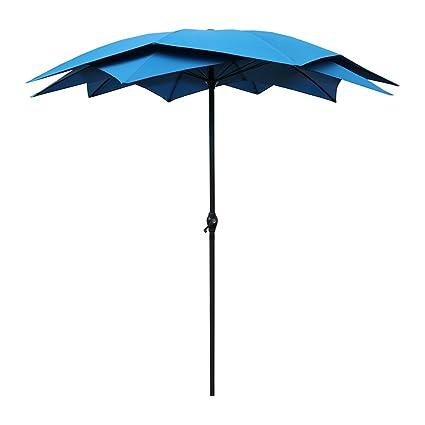 Le Papillon 8 Foot Lotus Patio Umbrella Wind Resistant, Blue