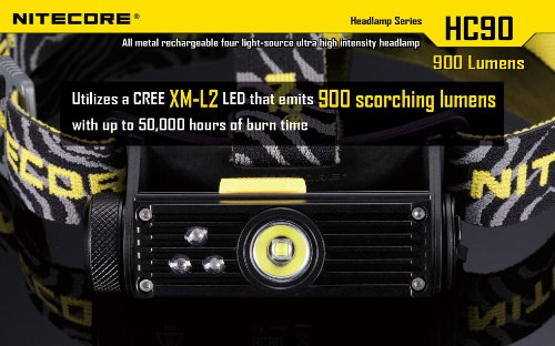 Nitecore HC90 900 Lumen CREE XM-L2 T6 LED USB rechargeable headlamp with Genuine NL189 18650 3400mAh Li-ion rechargeable battery, Two EdisonBright CR123A Lithium Batteries by Nitecore (Image #7)