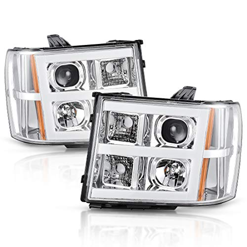 - Headlight Assembly for 2007-2013 GMC Sierra 1500/2007-2014 Sierra 2500HD 3500HD Headlamps Replacement Chrome Housing LED Tube DRL Projector Headlights