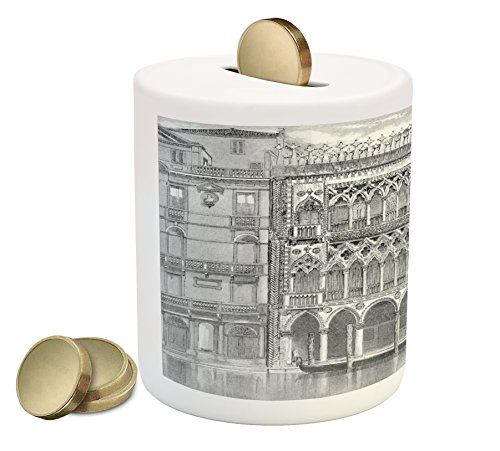 Antique Coin Box Bank by Lunarable, 19th Century Engraving of Grand Canal Venice Monument Landmark Illustration Print, Printed Ceramic Coin Bank Money Box for Cash Saving, Black White - Venice Engraving