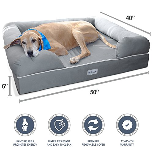 PetFusion Ultimate Dog Bed & Lounge With Bolster. (Jumbo XX Large Gray, 50 x 40 x 13 inch)