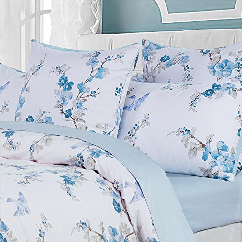 Brandream Duvet Cover King Floral Beddding Set Vintage Style Tree Blossom Birds with 100% Egyptian Cotton Quilt Comforter Cover Set(King,Blue)