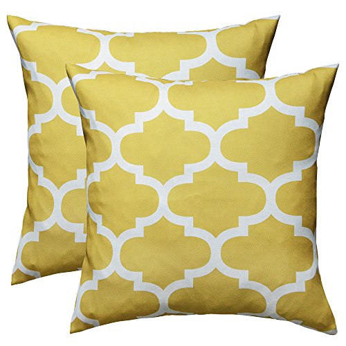 puredown Canvas Decorative Cushion Covers Sofa Chair Seat Throw Pillow Case Quatrefoil Print Square,Yellow,18