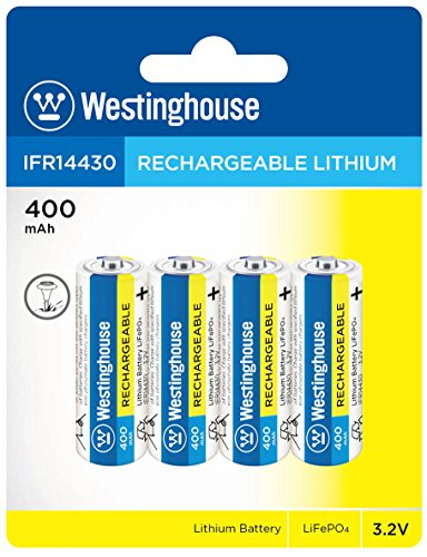 Westinghouse Battery IFR 14430 3.2v 400 mAh Lithium Iron Phosphate LiFePO4 Solar Rechargeable Batteries Outdoor Garden Light Pack of 4