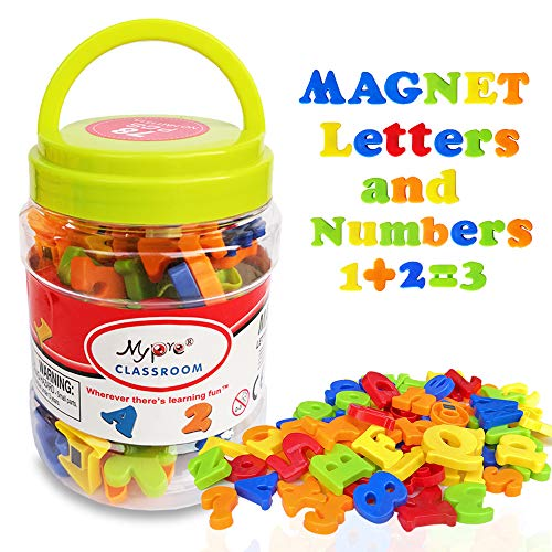 Magnetic Alphabet Letters and Numbers for Toddlers Magnets ABC 123 Fridge White Board Educational Toy Kit Preschool Learning Spelling Counting Include Plastic Uppercase Lowercase Math Symbols (78 Pcs)